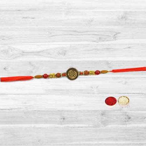 Admirable Om Design Rakhi with free Roli Tilak and Chawal for your Caring Brother