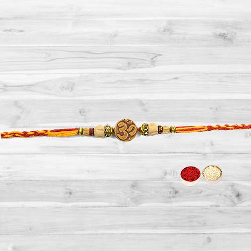 Classic Selection of Om Rakhi with free Roli Tilak and Chawal for your Loving Brother
