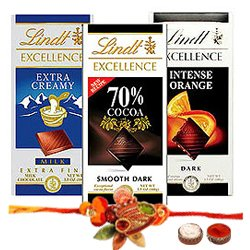 Scrumptious Special Treat of Lindt Chocolate Bars with Rakhi, Roli Tilak and Chawal