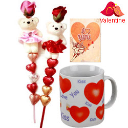 Romantic Pair of Teddy N Heart shape Handmade Chocolates in a stick with a Love Mug and Free I Love You Card