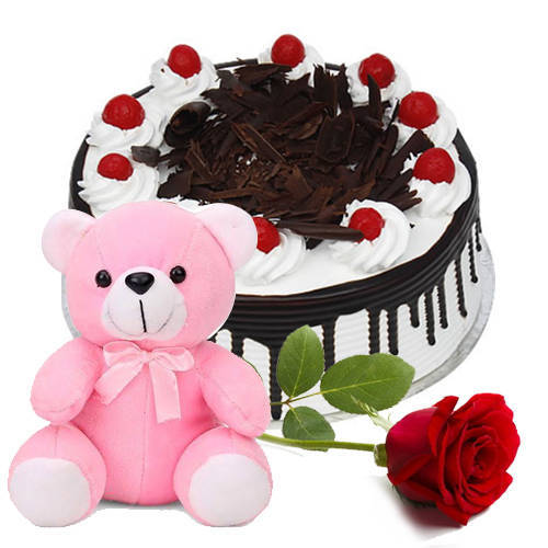 Chocolaty Indulgence Black Forest Cake with Red Rose N Teddy