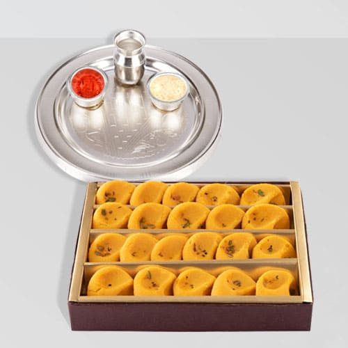 Silver Plated Thali with Kesaria Pedas from Haldiram