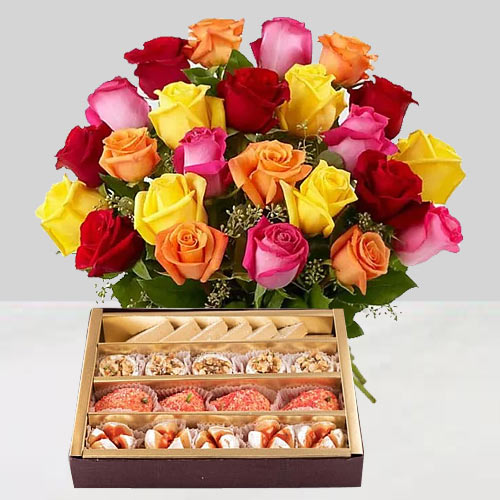 Gorgeous mixed Roses and tasty assorted Sweets