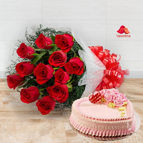 Exclusive Dutch Red Roses  Bouquet with Heart Shaped Cake