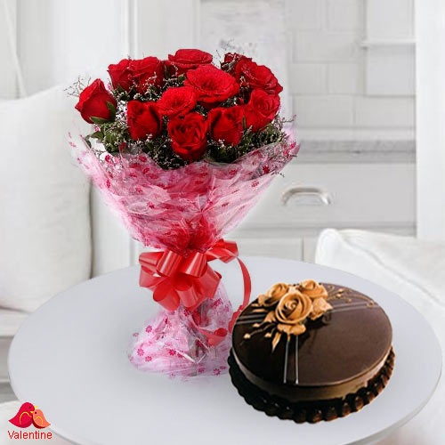 12 Exclusive Dutch Red Roses  with Taj / 5 Star Bakery Cake 1 Kg from 5 star Hotel Bakery <br> (Limited Cities)