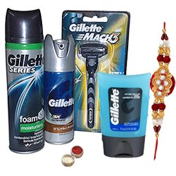Wonderful Composition of Gillette Shaving Pack with Rakhi, Roli Tilak and Chawal for your Big Brother