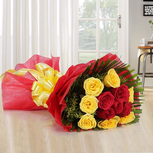 Tropical 12 Mixed Roses Bouquet with Warm Wishes