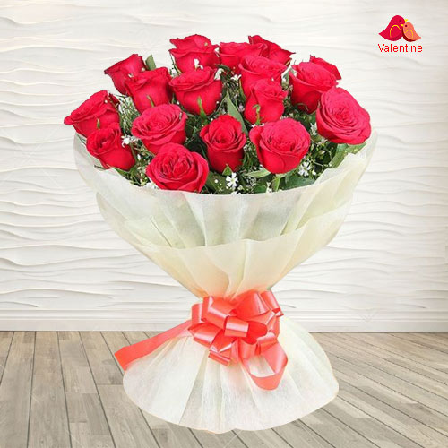 18 Exclusive Dutch Red Roses  Bouquet Nicely Wrapped