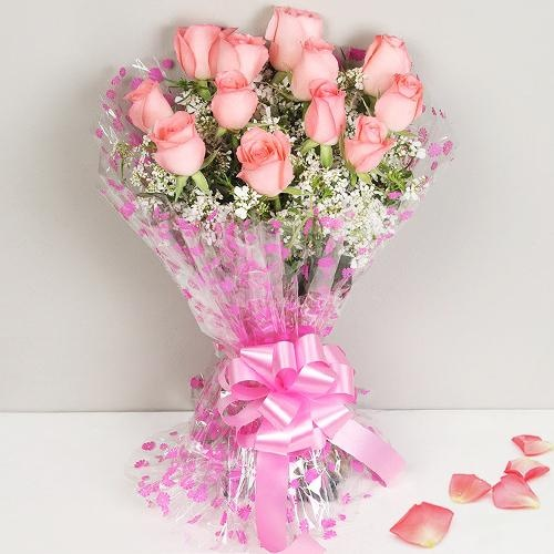 Breathtaking 12 Exclusive Dutch Pink Roses Bunch for Mom