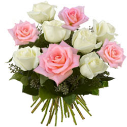 Lovely Pink and White Roses Bunch