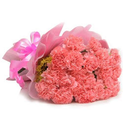 Passionate Pink Coloured Carnations Bouquet<br>