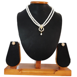 Fabulous Dropping Pearls on a Round Pendent with a Double Line Pearl Necklace and Matching Earrings