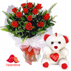 <u><font color=#008000> MidNight Delivery : </FONT></u>:12 Exclusive  Dutch Red    Roses  Bunch with Cute Love Teddy Bear