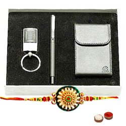 Wonderful Present of Pen, Visiting Card Holder and Steel Finish Key Chain Set with Free Rakhi, Roli Tilak and Chawal for Raksha Bandhan