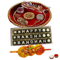 Impressive Display of Decorative Rakhi Thali and Homemade Raksha Bandhan Chocolate Pack with Free Rakhi Roli Tilak N Chawal for your Beloved Brother<br>