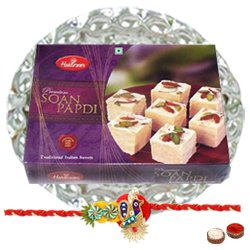 Delectable Soan Papdi from Haldirams with Rakhi, Roli Tilak and Chawal for your Brother on Rakhi Celebration