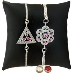 Ravishing Two Rhodium Plated Rakhis