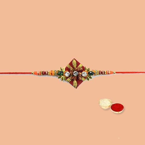 Dashing Rakhi Special Ethnic Rakhi with free Roli Tilak and Chawal for your Dear Brother