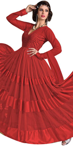 Chic Net and Brasso Red Printed Salwar for Women