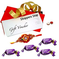 Shoppers Stop Gift Vouchers Worth Rs. 2000 and Chocolate with Rakhi and Roli Tilak Chawal