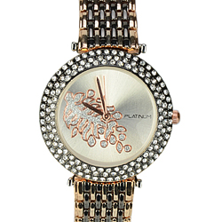 A Marvellous Black & Gold Color Womens Watch Studded with American Diamonds