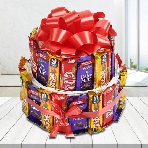 Indulgent Double Deck Arrangement of Assorted Cadbury n Nestle Chocolates
