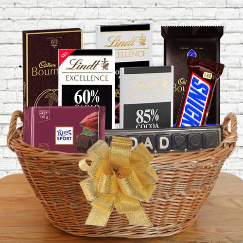 Marvellous Gift Basket of Dark Chocolates for DAD