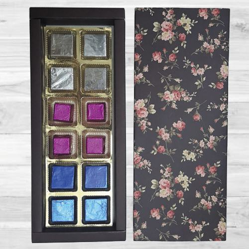 Crunchy Handmade Chocolate Assortments in a Floral Box
