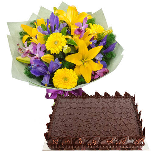 Dazzling Assorted Flower Bouquet   Chocolate Cake