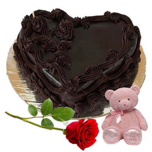 Love Combo of Chocolate Cake with Single Rose N Teddy