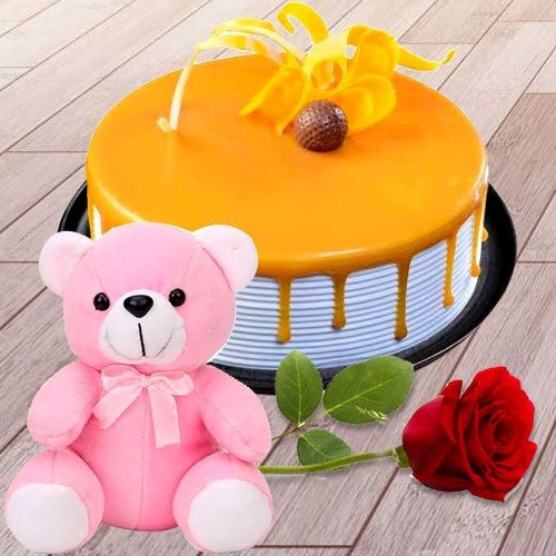 Eggless Butter Scotch Cake with Teddy N Pink Rose
