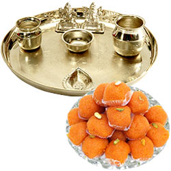 Silver plated Puja Thali with Silver Plated Lakshmi Ganesha with Haldiram�s Pure Ghee Ladoo