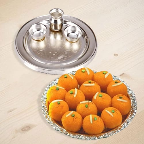 Silver Plated Thali with Motichur Laddu from Haldiram