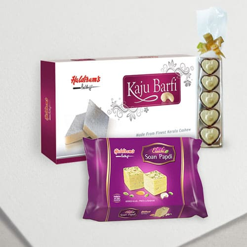 Haldirams Soan Papdi with Kaju Katli N Chocolates