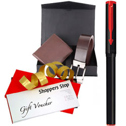 Mind Blowing Combo of Shoppers Stop Gift Voucher worth Rs.1000, Parkar Beta Pen and Box of Wallet N Belt