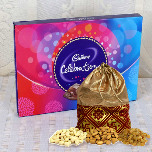 Scrumptious Cadbury Celebrations Pack with Dry Fruits Potli