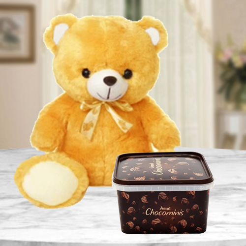 Birthday Gift of Amul Chocominis with a Soft Teddy