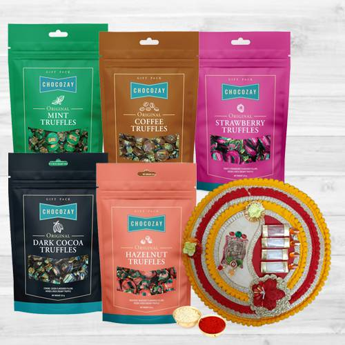 Delicious Five Assorted Truffle Chocolates with Pooja Thali