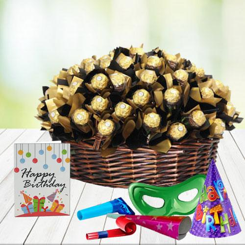 Delicious Ferrero Rocher Chocolates arranged in Basket
