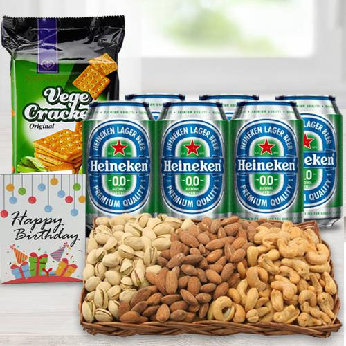 Exclusive Non Alcoholic Beer n Nut Gift Basket