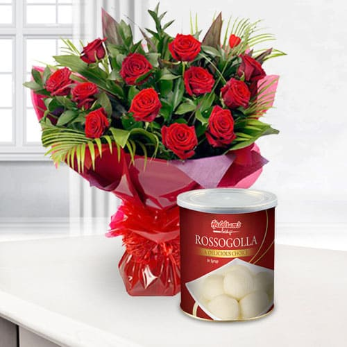 Mesmerizing Bouquet of Red Roses with Haldiram Rasgulla