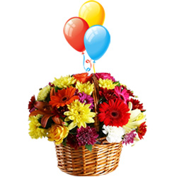 Balloons with Flowers Arranged in a Basket