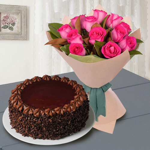 Elegant 12 Red Roses with 1/2 Kg Chocolate Cake