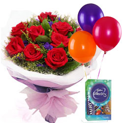 Chocolates with Balloons N Rose Bouquet