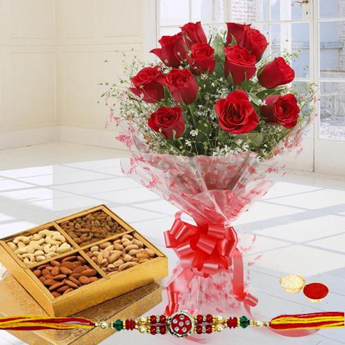 Exclusive 12 Red Roses along with yummy mixed Dry Fruits with Free 2 Rakhis and Roli Tilak Chawal