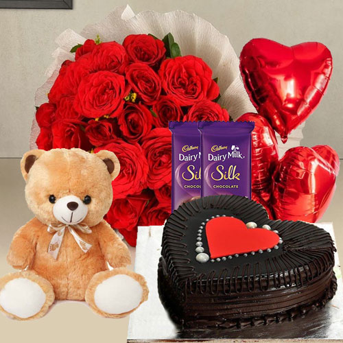 Chocolates with Balloons, Teddy, Red Roses N Cake