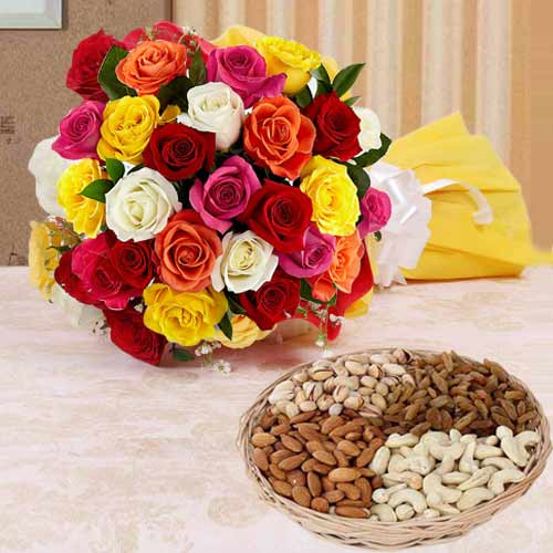 Mixed Roses Bunch with Assorted Dry Fruits