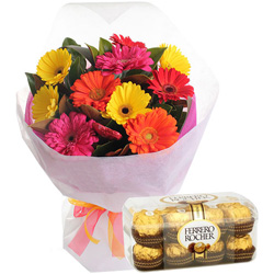 Pack of Ferrero Rocher Chocolates with Mixed Gerberas Bouquet
