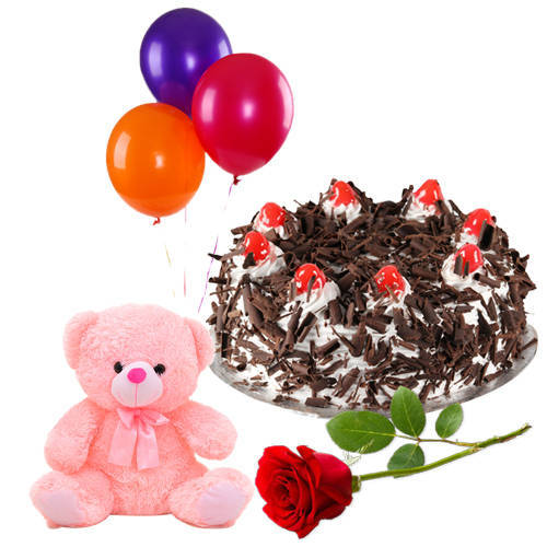 Lovely Rose with Black Forest Cake, Teddy N Balloons