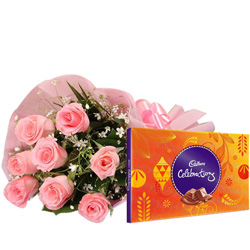 Marvelous Cadbury Celebrations with Pink Rose Bouquet